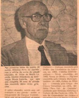 Falecimento do fundador Dr. Oscar de Moura Lacerda